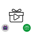 Rewarded video icon with gift box and play button vector image
