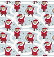 seamless pattern with cute Santa Claus characters vector image