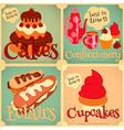 Sweet Cakes Retro Card vector image