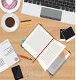 Top view of desk office desk with digital devices vector image