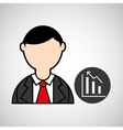 avatar man with suit and statistics graphic vector image