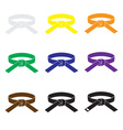 karate martial arts color belts icons set eps10 vector image