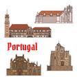 portuguese travel landmarks thin line icon set vector image