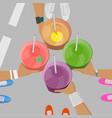 sport girls holging smoothies in hands top view vector image