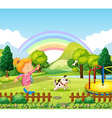 Girl throwing bone for dog in the park vector image