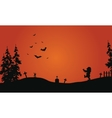 Halloween red background scenery vector image