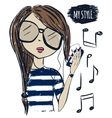 Cute fashionable girl in sunglasses Fashion girl vector image