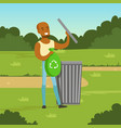 ecological lifestyle concept with man character vector image