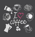hand drawn coffee set vector image