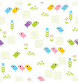 Seamless floral pattern with funny birds Vector Image
