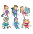 Travelling kids vector image vector image