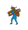 Minotaur Bull Plumber Wrench Isolated Cartoon vector image vector image