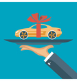 hand with a car on a tray vector image