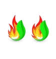 Isolated abstract fire logo Flame in leaf vector image