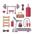 set of gym equipment sport and fitness icons vector image