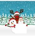 Santa Claus with snowman and reindeer peeking vector image
