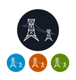 Icon high voltage power lines vector image