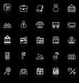 Mortgage and home loan line icons with reflect on vector image