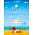 Sunny day beach background with beautiful girl vector image