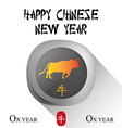 an isolated round label with an ox and text for ch vector image