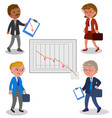 businessmen with bad graph vector image