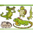 reptiles and amphibians cartoon set vector image