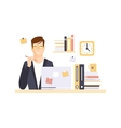 Thinking Man Office Worker In Office Cubicle vector image