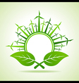 Ecology concept - Leaf with wind mill vector image vector image