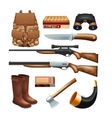 Hunting tackle and equipment icons set vector image