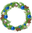 Christmas Wreath with Decorations and Pine vector image vector image