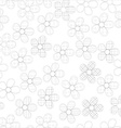 Black and white seamless pattern in flowers with vector image