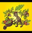 Forest man oak leaves autumn season design vector image