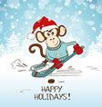 Funny Cartoon Monkey Playing Hockey vector image
