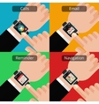 Hands with smartwatch and unread message vector image