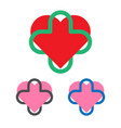 medical logo template heart and cross logotype vector image