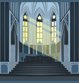 sun rays inside cathedral church or basilica vector image