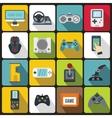 Video game icons set flat style vector image