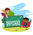 Kids and back to school sign vector image