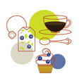 blueberry tea bag and cup of tea with cupcake vector image