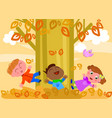 kids playing with leaves vector image vector image