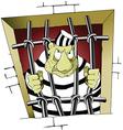 Prisoner behind bars cartoon vector image
