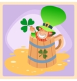 Leprechaun in a mug of beer St Patrick day vector image