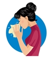 Sneezing woman eps10 vector image vector image