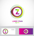 Letter Z circle logo pink green vector image