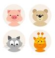 set of four cute cartoon animal character vector image