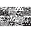 Universal floral seamless patterns set vector image