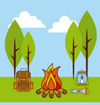 landscape fire camp backpack lamp flashlight vector image