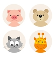 set of four cute cartoon animal character vector image