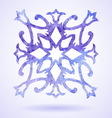 Watercolor blue painted Christmas snowflake vector image