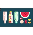 Three bottles and some fruit vector image